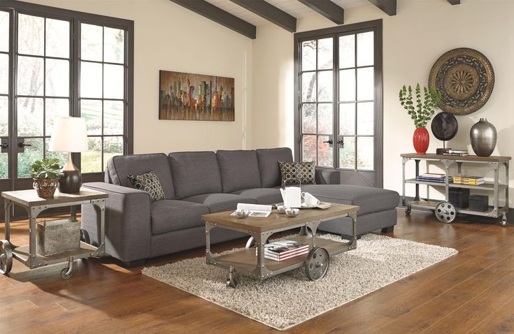 Coaster Norland Contemporary Sectional Sofa With Chaise and Two Toss Pillows - Coaster Fine Furniture