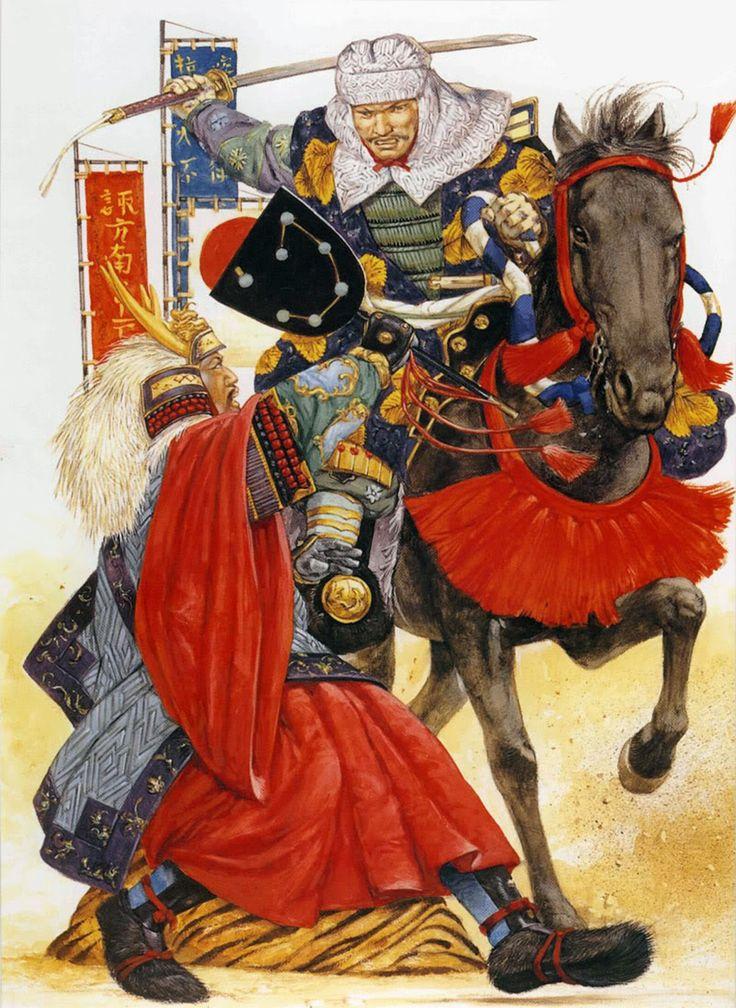 Duel between Takeda Shingen and Uesugi Kenshin at the Fourth Battle of Kawanakajima, Warring States (Sengaku) Period, Japan