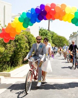 """See the """"A Colorful Touch"""" in our A Retro DIY Wedding Outdoors in California gallery"""
