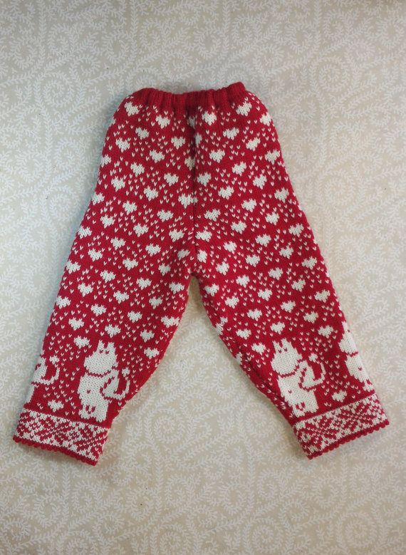 Stylish pants with moomin pattern for children by LanaNere on Etsy
