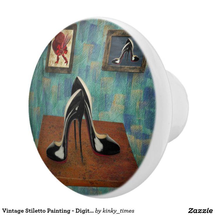 Vintage Stiletto Painting - Digital Art Ceramic Knob