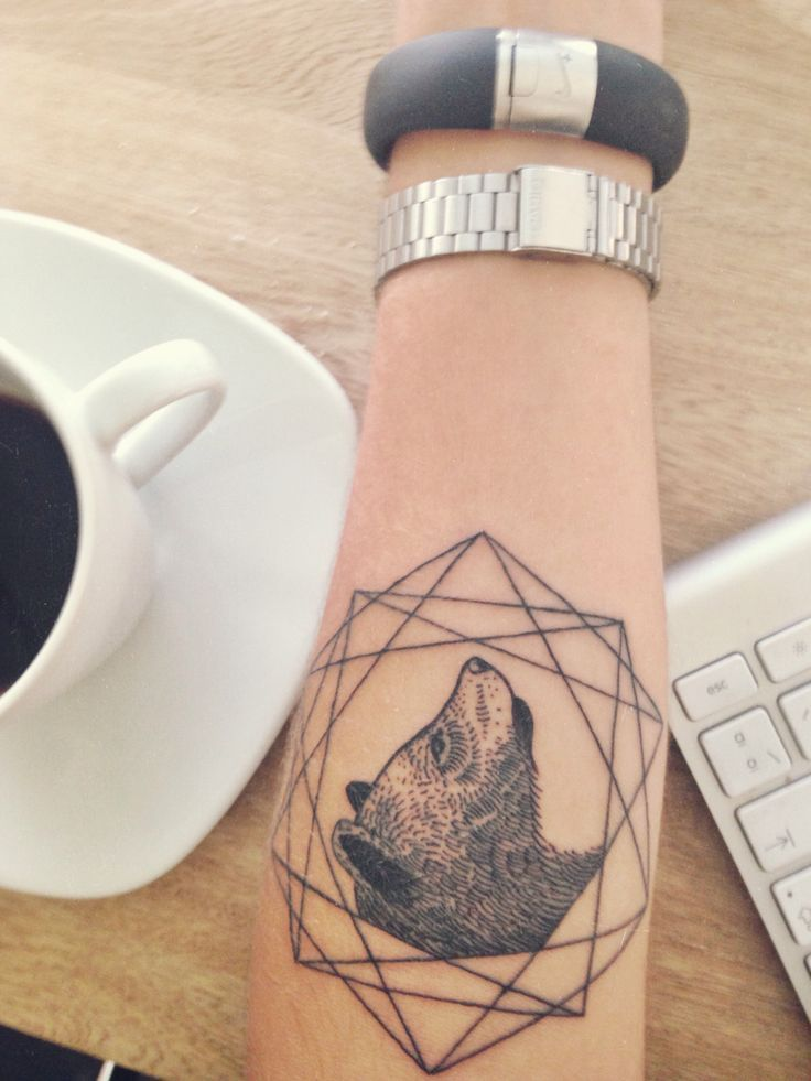 Geometric bear tattoo #ink #tattoo