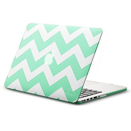 """Kuzy - Retina 13-inch Chevron TEAL HOT Rubberized Hard Case for MacBook Pro 13.3"""" with Retina Display A1502 / A1425 (NEWEST VERSION) Shell Cover - Chevron TEAL Blue"""