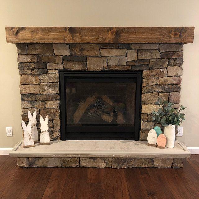 Rustic Wood Fireplace Mantel Shelf Distressed Farmhouse Handmade