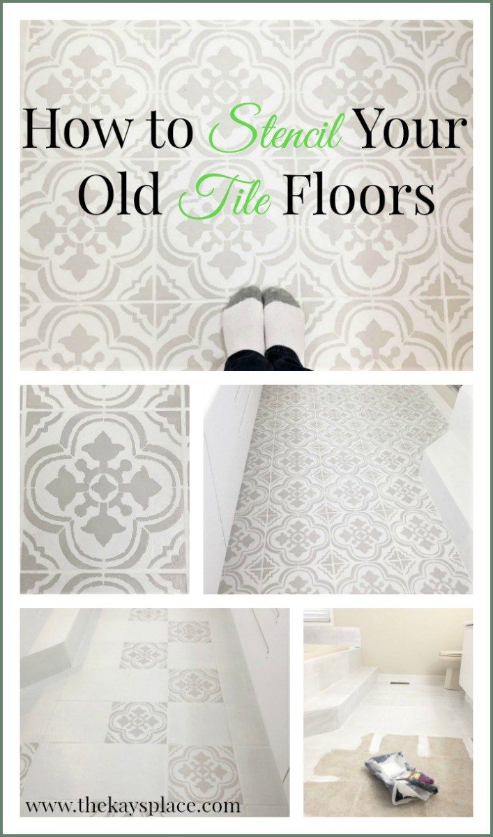 How I Painted And Stenciled My Old Outdated Tile Floor Flooring Painting Tile Floors Kitchen Flooring