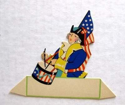Vintage Bridge Tally Place Card Patriotic Colonial Drum Soilder w American Flag | for sale at bungalowblondie1 via eBay