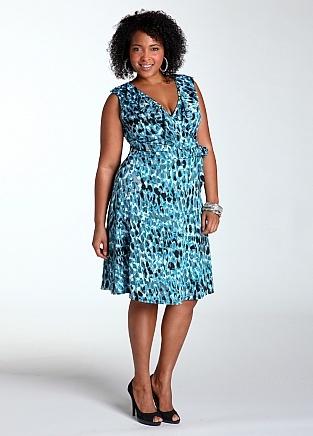 Turquoise/Aqua Self_Tie Pattern Dress