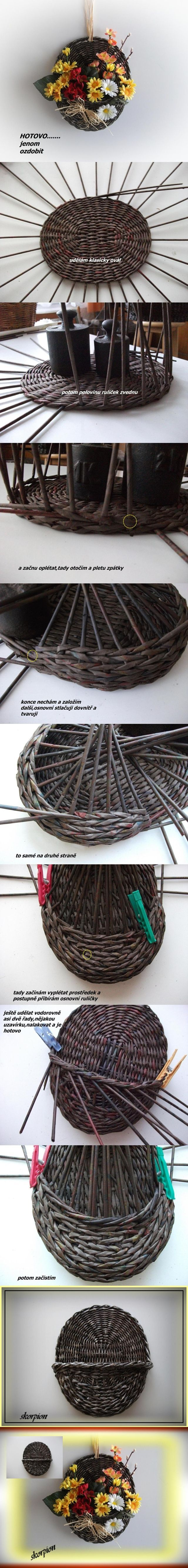 DIY Woven Hanger Planter from Newspaper | www.FabArtDIY.com LIKE Us on Facebook == https://www.facebook.com/FabArtDIY:
