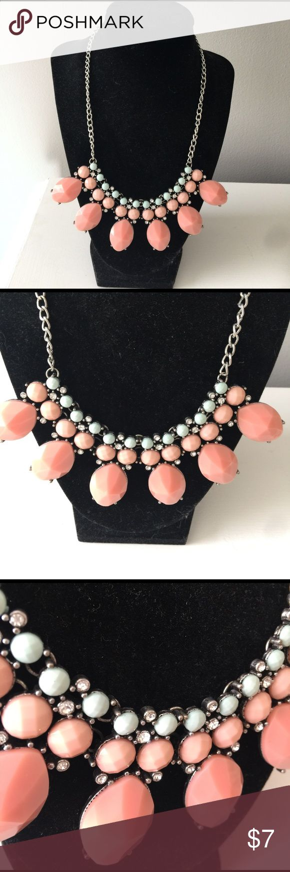 Statement necklace Peach and Turquoise statement necklace. Jewelry Necklaces