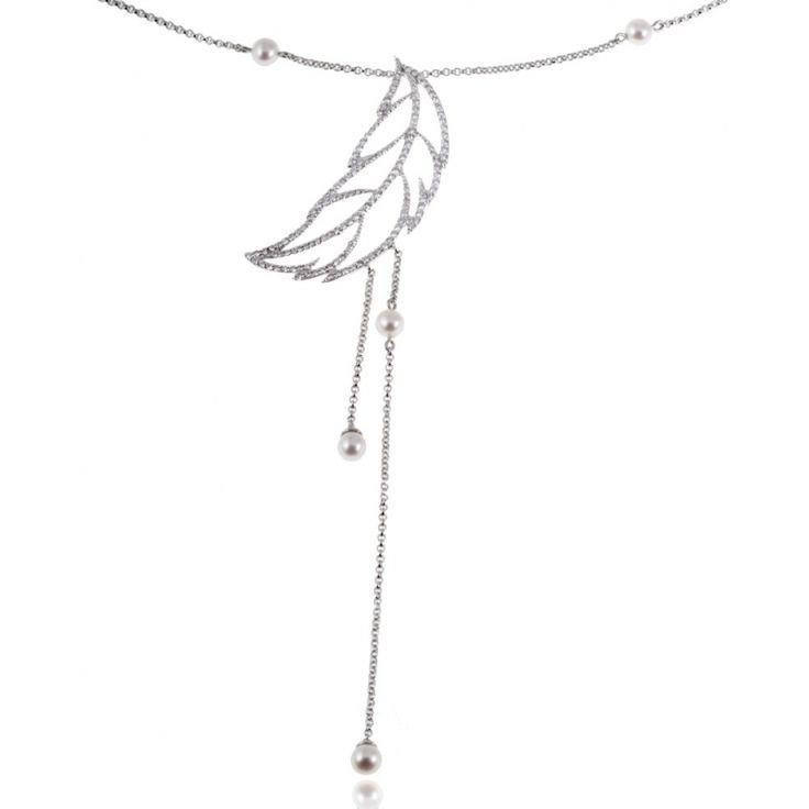 Achat Collier Femme Argent Rhodié 5.69 g , Oxyde de zirconium 0.282 ct, Oxyde de zirconium 1.09 ct - Le Manège à Bijoux®