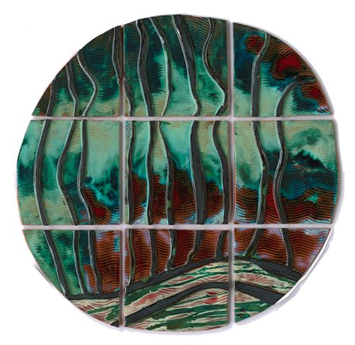 """Steamer Planet is a dimensional, 36"""" round Cosmic. Multiple bas relief textures ripple through the piece."""