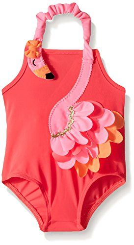 Your little girl will never take this swimsuit off. Made from nylon spandex, this bathing suit features a colorful layered flamingo wrap around app...