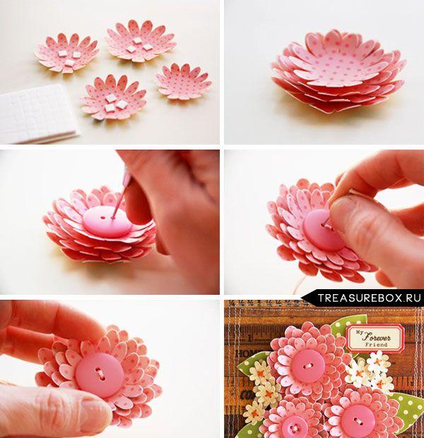 Объемная открытка цветы из бумаги своими руками пошаговое фото