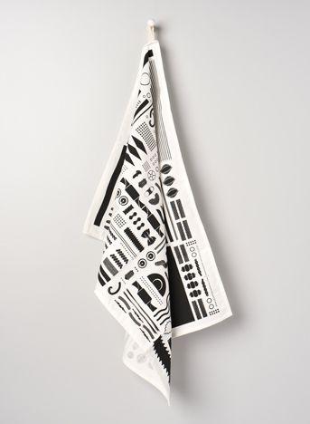 THE GEOMETRY OF PASTA TEA TOWEL 100% cotton print black and white Geometry of Pasta teatowel