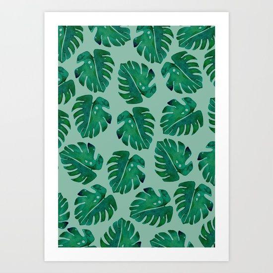 Delicious monster print // Sarah Jager Design #deliciousmonster #leafy #green