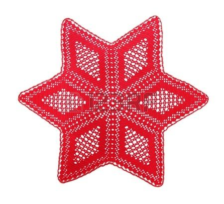 Openwork crochet doily, the Christmas star, isolated on white