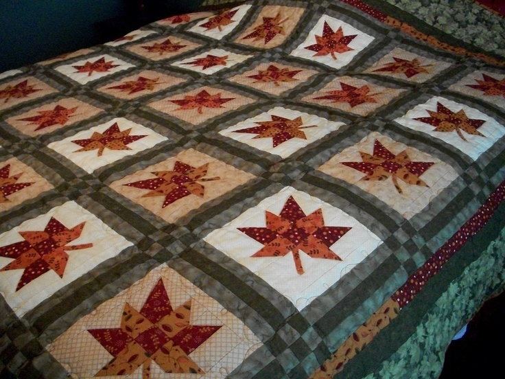This was a fun fall quilt to make, the leaf tip is paper pieced