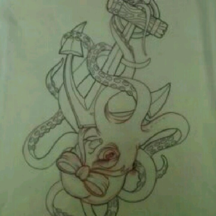 Octopus And Anchor Tattoo Designs