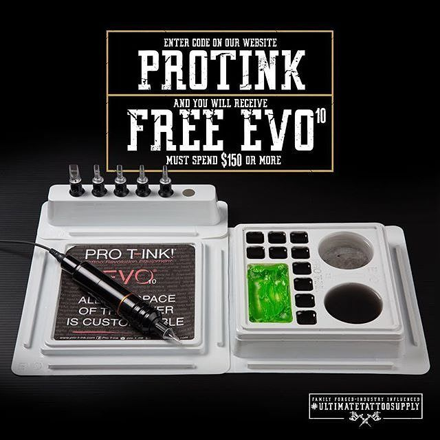 : @ultimatetattoosupply Ultimate Tattoo Supply Spend $150 or more on our website and receive a FREE EVO10 when you enter the code 'PROTINK'  ___________________________________________________ #ultimatetattoosupply #tattoosupply #tattoosupplies #shopsupplies #tattooartist #tattooink #tattoomachines #tattooaftercare  #tattoo #tattoos #tattooed #ink #inked #inkedup  #evo10 #evo #protink