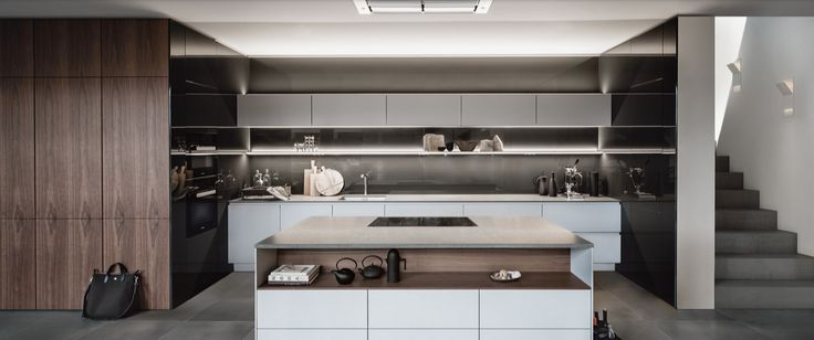 SieMatic S2 & SE / Surfaces: SQ Lacquer Sterling Grey Matt, Graphite Grey & Natural Walnut Veneer / Worktop - Volcanic Stone Basaltina Matt / Steven Christopher Design
