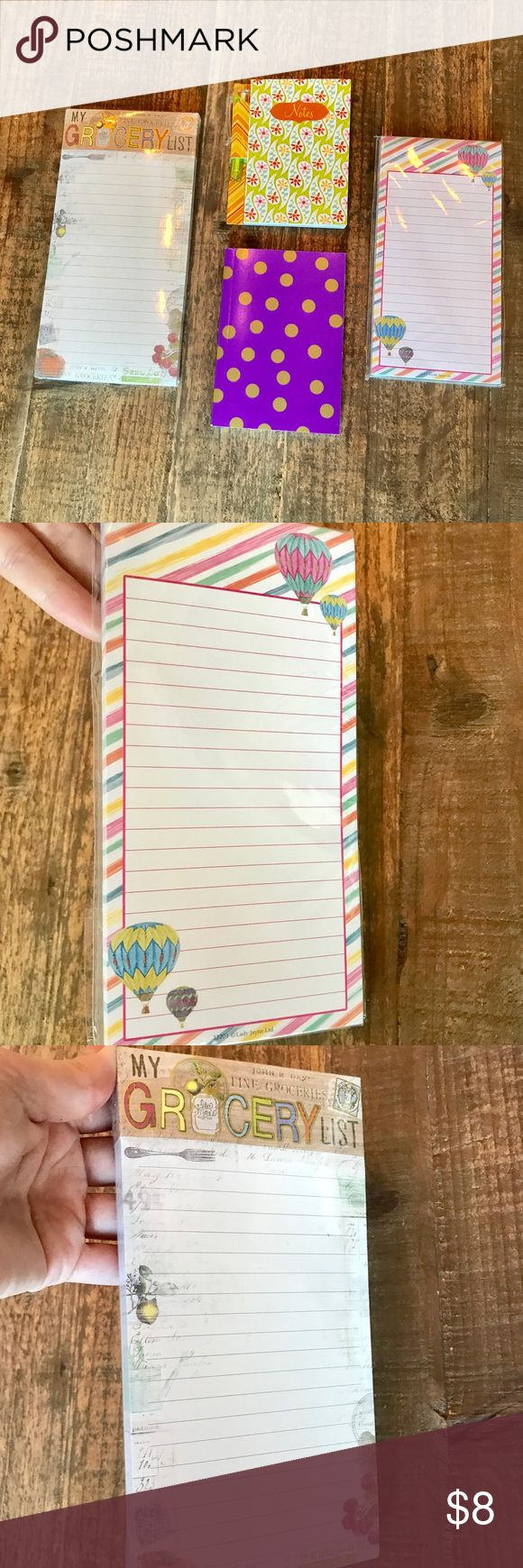 Bundle of note pads Never used, 2 still on packages. 1 magnetic grocery list pad, 1 small notebook with pen, 1 small note pad and 1 magnetic notepad. Accessories