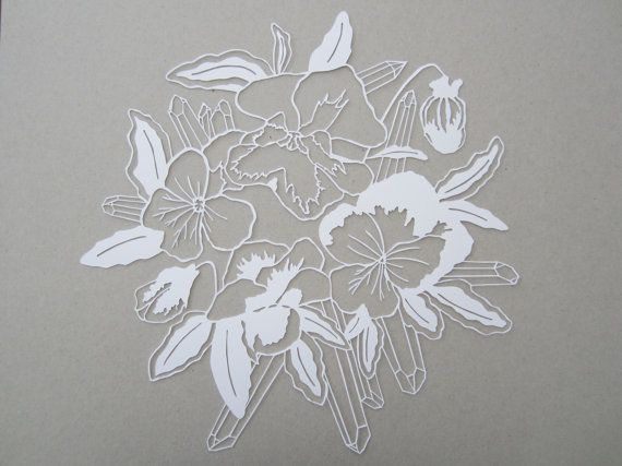 Magical Flower and Crystal Papercut Series 1  Pansy by HybridJ