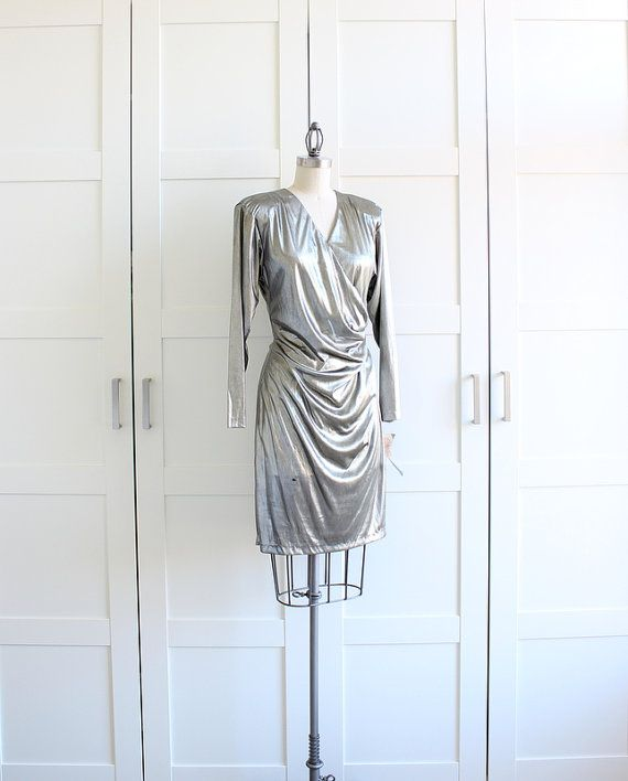 70s Silver Metallic Dress / Deadstock Long by myvintagecrush, $34.00