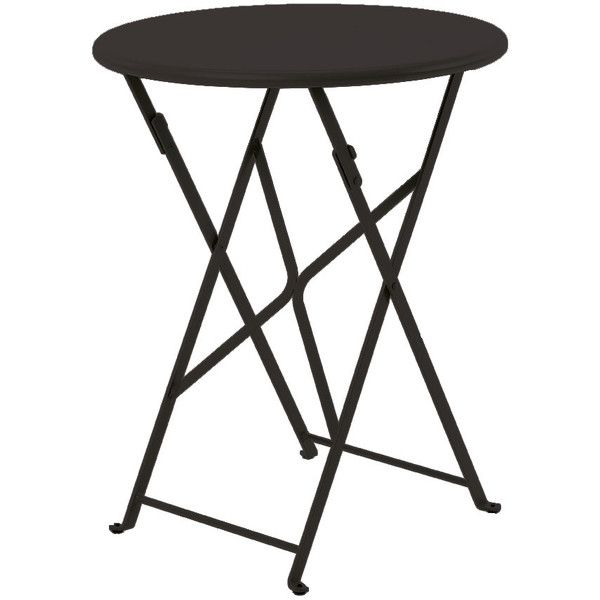 Ethimo Flower Round Folding Table 60cm Black (£180) ❤ liked on Polyvore featuring home, outdoors, patio furniture, black, folding chairs, folding table, black outdoor furniture, outdoor patio furniture and outdoor folding table