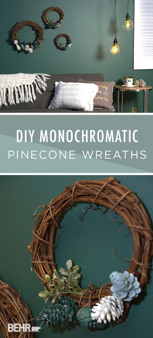 We're loving the look of these DIY monochromatic pinecone wreaths. Modern BEHR Paint colors like Wabi-Sabi, In The Moment, Equilibrium, Tsunami, and Soft Focus come together to create a relaxing blue and green color palette. Meanwhile, a rustic twig branch wreath adds a burst of farmhouse-chic style. Click here to find the full tutorial for this holiday home decor project.