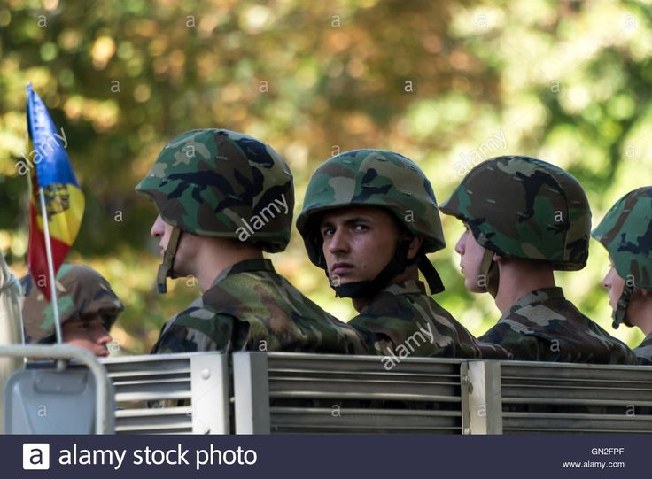 Chisinau, Moldova. 27th August 2016. Military parading on the main street of…