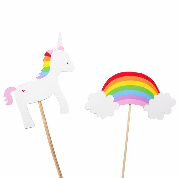 Rainbow Unicorn Cupcake Toppers Rainbow by MakeItMerryShop