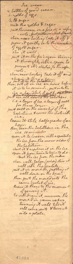 President Thomas Jefferson's ice cream recipe