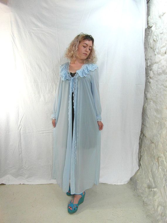 Blue nylon 60's dressing gown house coat by frenchvintagedream
