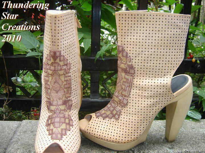 A collaboration . beadwork I did on a pair of  boots created  by PYA Importers.  Used in their runways show in New York and  Toronto fashion weeks  spring/summer  2011 collections