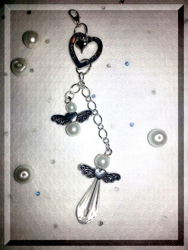 """Hjärta """"Believe, Love, Hope"""" med en stor och en liten ängel, ca. 12,5 cm"""