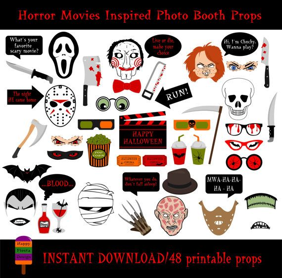Horror Movies Photo Booth Props–48 Pieces-Printable Halloween Photo Booth Props–Halloween Party-DIY Cinema Photobooth- Instant Download