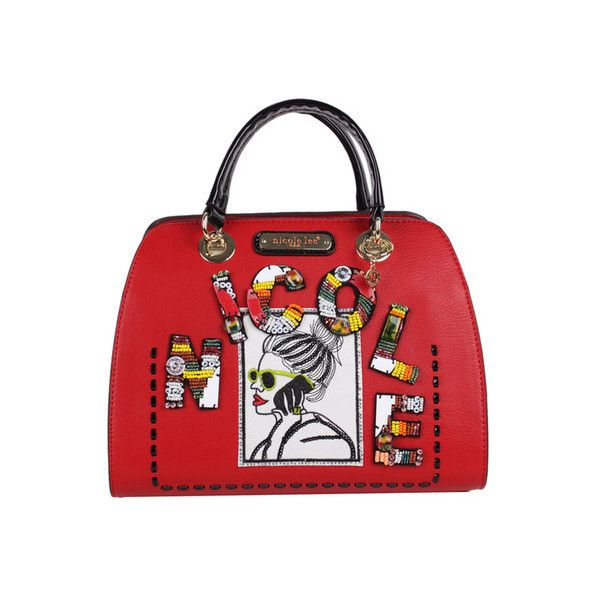 Women's Nicole Lee Jezebel Beaded Patch Small Dome Satchel ($94) ❤ liked on Polyvore featuring bags, handbags, red, satchels, man satchel bag, man bag, top handle purse, top handle satchel and satchel handbags