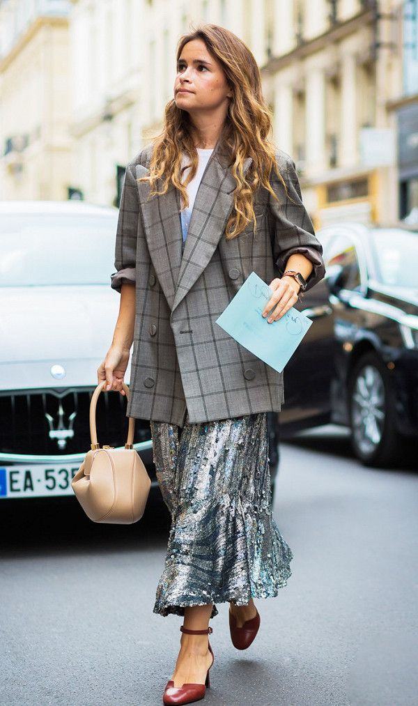 Metallic skirt + plaid blazer