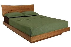 Brattleboro Sherwood Platform Bed. Rustic headboard design with a live edge. Available in several different finishes. Made in the USA.