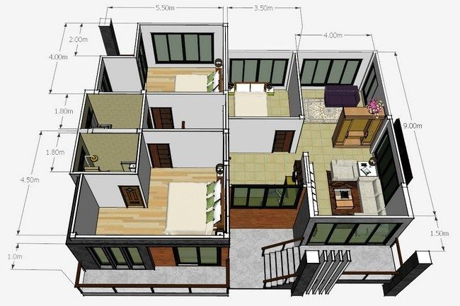 Our House Plan For Today Features A Modern Half House This Semi Detached House Is Developed From A Single Sto House Plans Small House Design Dream House Plans