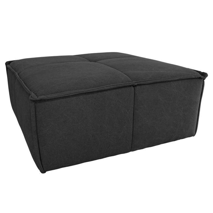 HK-living Voetenbank houtskool zwart canvas katoen 80x69x43cm
