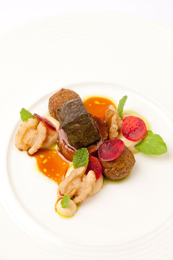Hogget mezze with falafel, walnuts and mint oil by Phil Fanning