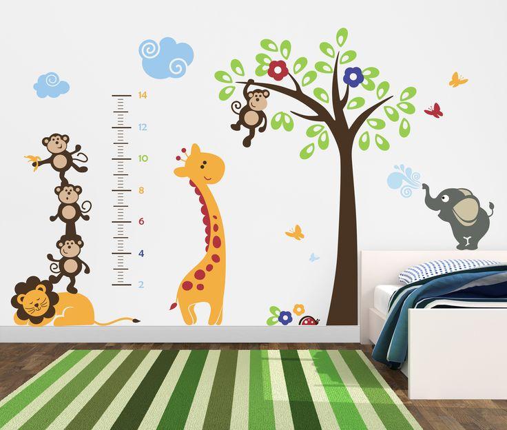 Renkli Hayvancıklar Ağaç Ve Boyölçer Duvar Sticker  Fiyat: 184 TL