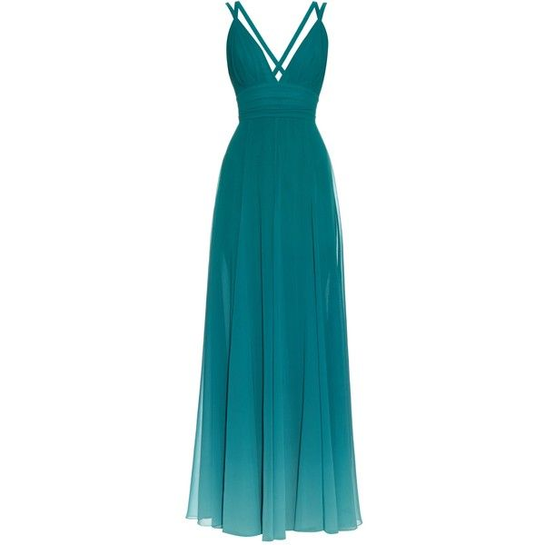 Elie Saab Dégradé V-neck georgette gown ($1,610) ❤ liked on Polyvore featuring dresses, gowns, long dress, vestidos, green, blue dress, blue gown, long blue evening dress, blue ball gown and elie saab gowns