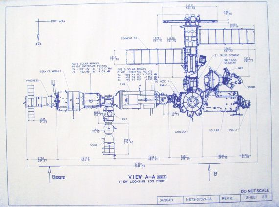 International Space Station Port vue Blueprint par BlueprintPlace
