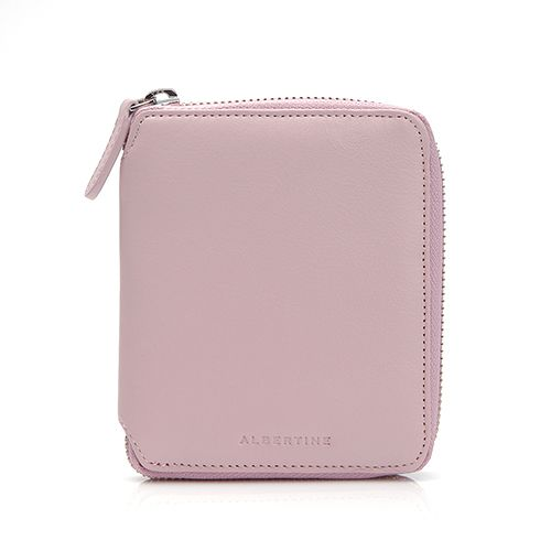 A small wallet in cow leather. Logo letters detail the front, and a wraparound zip opens the lined, gusseted interior. Snap coin pouch, cash pocket, and 4 card slots. Dust bag included.Height: 4.9in / 12.4cmWidth: 4.2in / 10.7cmDepth: 0.75in / 1.9cm