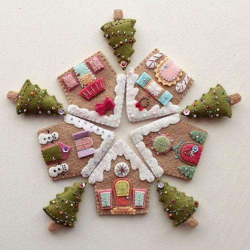 gingerbread houses - beautiful stitching and wonderful execution - Gingermelon's flickr photostream