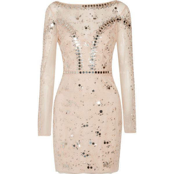 Temperley London Klementina embellished tulle mini dress (£1,995) ❤ liked on Polyvore featuring dresses, neutrals, pink party dress, pink mini dress, mini dress, pink long sleeve dress and short party dresses