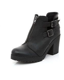 Wide Fit Dark Black Zip Front Cut Out Block Heel Boots    New Look