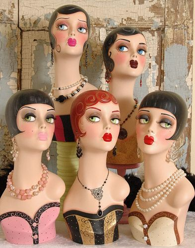 I like all these art deco faces, it's like suggestions for how to do my makeup. ***Art Deco Mannequin Collection. @designerwallace